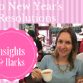 image shows text New Year resolutions hacks & insights and an image of a girl cheering with a cup of tea