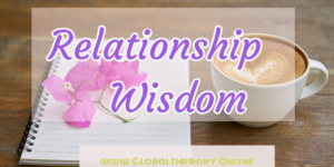 image display text relationship wisdom with a background of a coffee mug, orchid and notebook