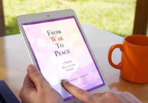 image displays a person reading from war to peace relationship guide on an ipad