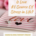 image displays an engagement ring and a plate with a word love written on it as well as test is love number one source of stress?