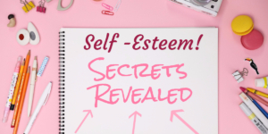 image displays text self-esteem secrets revealed written in the notebook